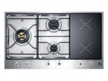 Bertazzoni Professional Built-In 90 3-Segment 3-Burner Gas and Induction Hob - Stainless Steel