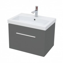 MATTEO / MONTY 1 DRAWER GREY GLOSS SOFT CLOSE UNIT 60 X 42CM - W/HANDLE