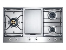 Bertazzoni Professional Built-In 90 3-Segment 3-Burner Gas and Griddle Hob - Stainless Steel